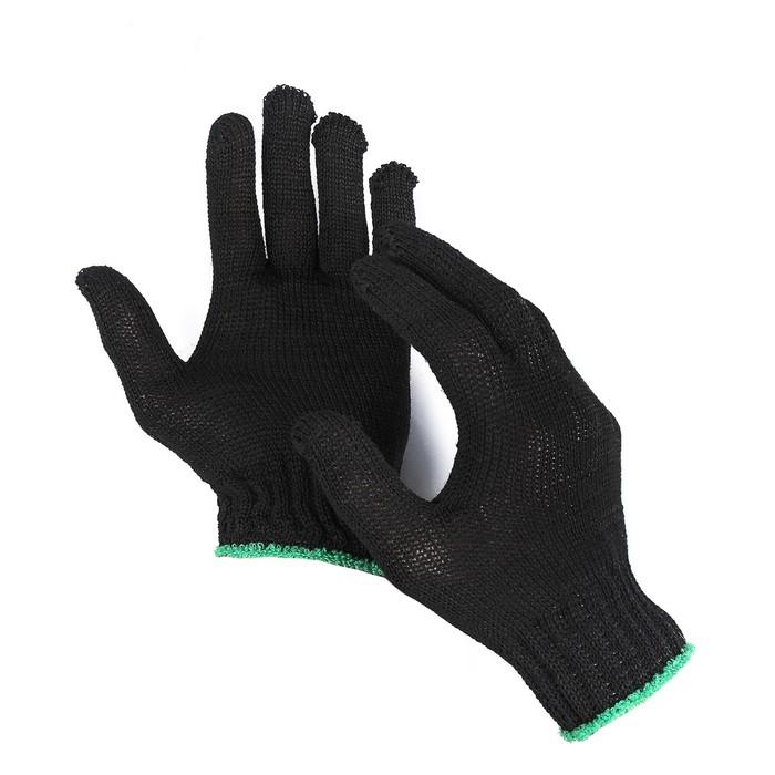 Перчатки, хб, вязка 7 класс, 3 нити, размер 9, без покрытия, чёрные