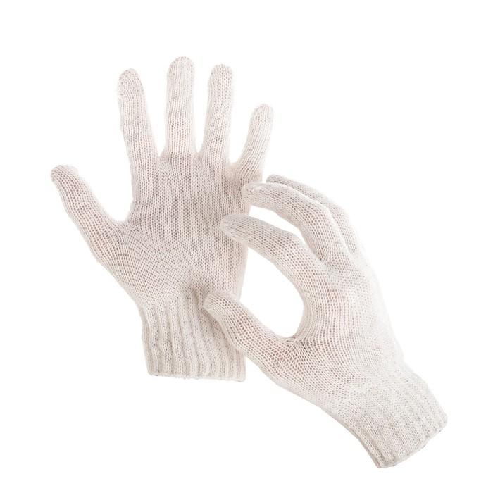 Перчатки, хб, вязка 7 класс, 3 нити, размер 9, без покрытия, белые