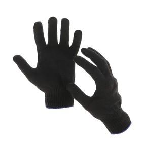 Перчатки, х/б, вязка 10 класс, 4 нити, размер 9, без ПВХ, чёрные Ош