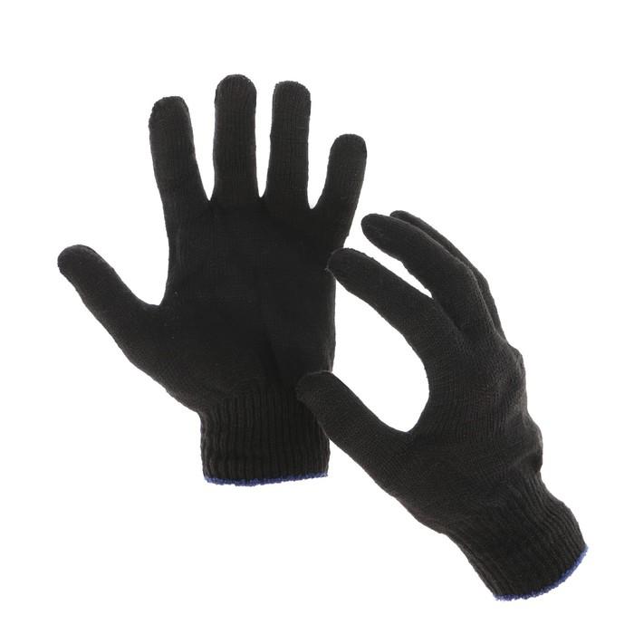 Перчатки, хб, вязка 10 класс, 4 нити, размер 9, без ПВХ, чёрные