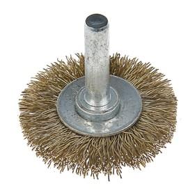 Щетка металлическая для дрели LOM, со шпилькой, плоская, 40 мм Ош