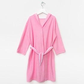 Халат махровый с капюшоном для девочки, рост 110-116 см, цвет розовый Ош
