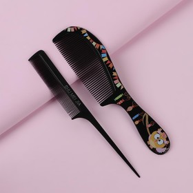 Набор расчёсок, 2 предмета, цвет чёрный Ош