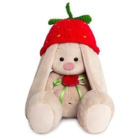 Мягкая игрушка «Зайка Ми» в вязаной шапке «клубничка», 18 см