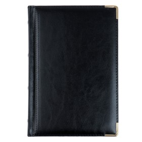 Ежедневник полудатированный А5+, 208 листов Boss, искусственная кожа, золотой срез, 2 ляссе, чёрный Ош