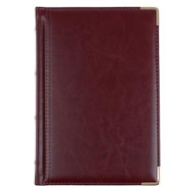 Ежедневник полудатированный А5+, 208 листов Boss, искусственная кожа, золотой срез, 2 ляссе, коричневый Ош