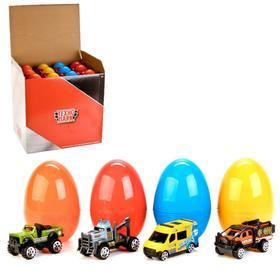 Машина металлическая «Городской транспорт», 7,5 см в яйце, цвета МИКС