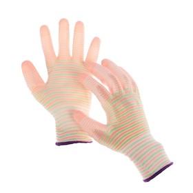 Перчатки нейлоновые, с латексной пропиткой, размер 9, цвет МИКС, «Полоса»