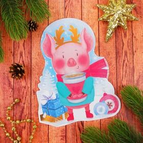 Новогодняя фреска блестками 'С Новым годом' Свинка Ош