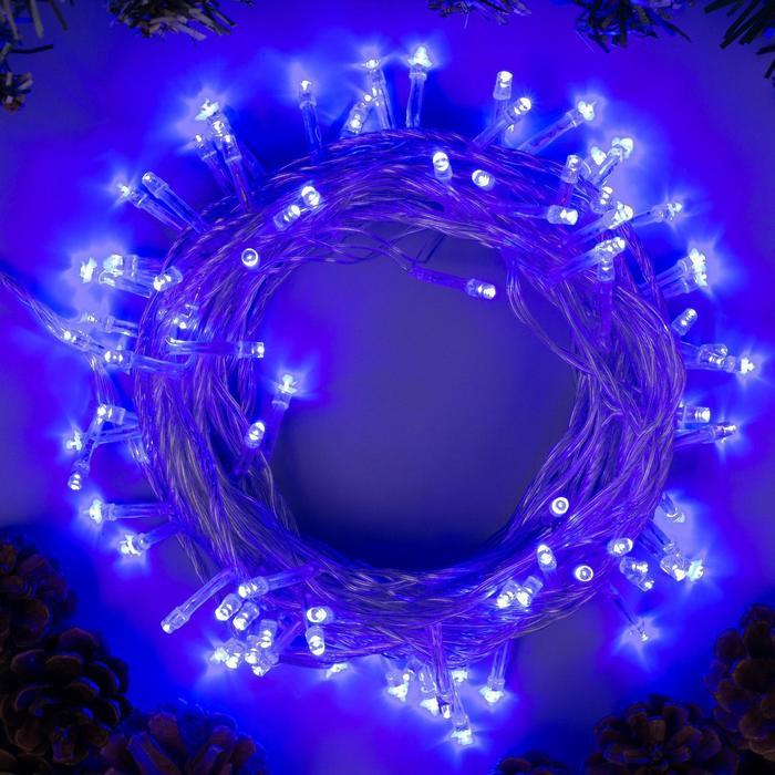 """Гирлянда """"Нить"""" 10 м , IP20, прозрачная нить, 100 LED, свечение синее, 8 режимов, 220 В"""