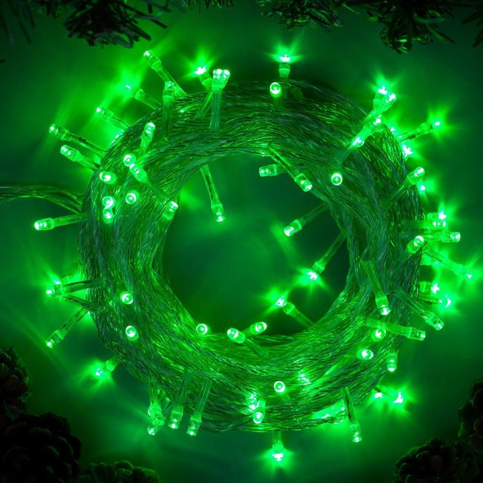 """Гирлянда """"Нить"""" 10 м , IP20, прозрачная нить, 100 LED, свечение зелёное, 8 режимов, 220 В"""