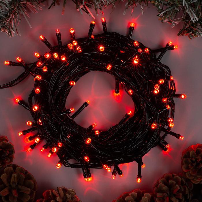 """Гирлянда """"Нить"""" 10 м , IP20, тёмная нить, 100 LED, свечение красное, 8 режимов, 220 В"""