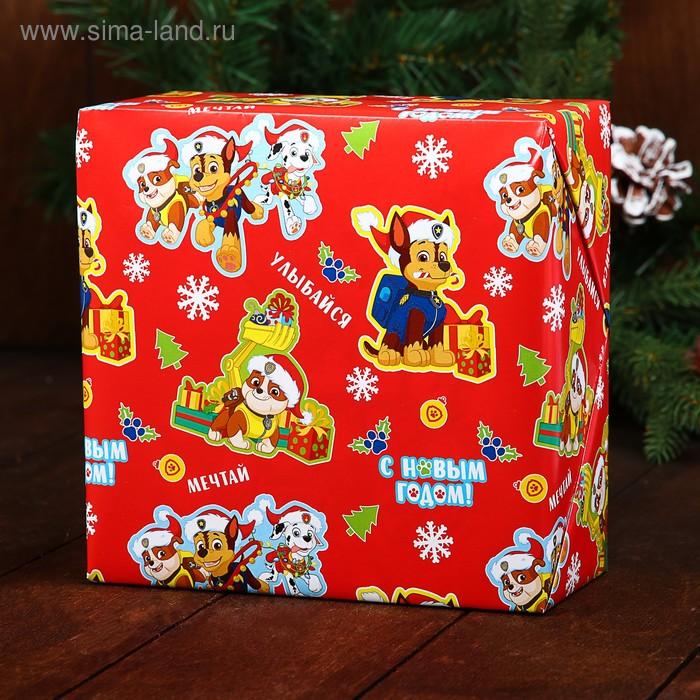Бумага упаковочная глянцевая «С Новым Годом!», PAW PATROL, 50 х 70 см