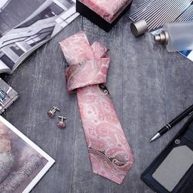 Набор мужской 'Стиль' галстук 145*5см самовяз, запонки, персидский кипарис, цвет розово-серый Ош