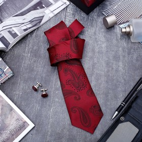 Набор мужской 'Стиль' галстук 145*5см самовяз, запонки, турецкий огурец, цвет бордовый Ош