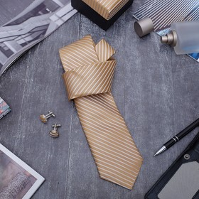 Набор мужской 'Стиль' галстук 145*5см самовяз, запонки, линии тонкие, цвет золотой Ош