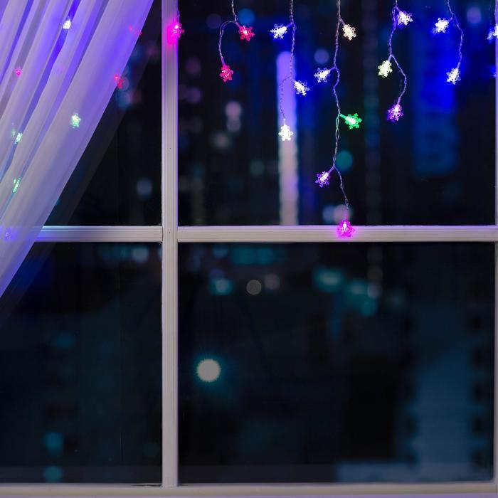 """Гирлянда """"Бахрома"""" 1.8 х 0.5 м с насадками """"Снежинки"""", IP20, прозрачная нить, 48 LED, свечение RG/RB, мигание, 220 В"""