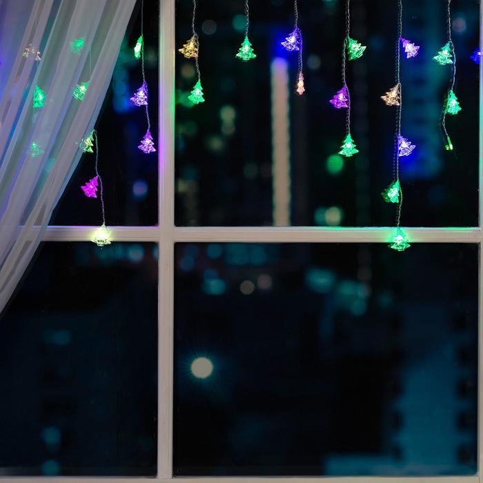 """Гирлянда """"Бахрома"""" 1.8 х 0.5 м с насадками """"Ёлки"""", IP20, прозрачная нить, 48 LED, свечение RG/RB, мигание, 220 В"""