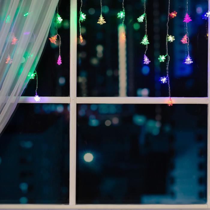 """Гирлянда """"Бахрома"""" 1.8 х 0.5 м с насадками """"Ёлки и снежинки"""", IP20, прозрачная нить, 48 LED, свечение RG/RB, мигание, 220 В"""