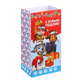 Пакет подарочный без ручек «С Новым Годом!', PAW PATROL, 10 х 19,5 х 7 см Ош