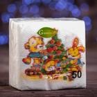 """Новогодние салфетки бумажные Гармония цвета многоцветие """"Медвежата"""", 24*24 см 50 листов"""