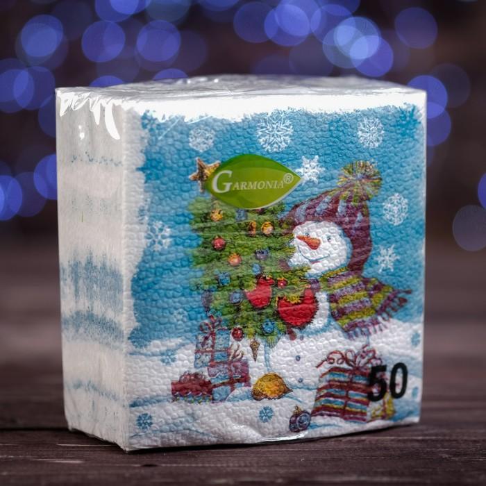Новогодние салфетки бумажные Гармония цвета многоцветие. Снеговичок, 2424 см, 50 листов
