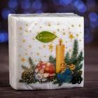 """Новогодние салфетки бумажные """"Гармония цвета многоцветие. Свеча"""", 24*24 см, 50 листов"""