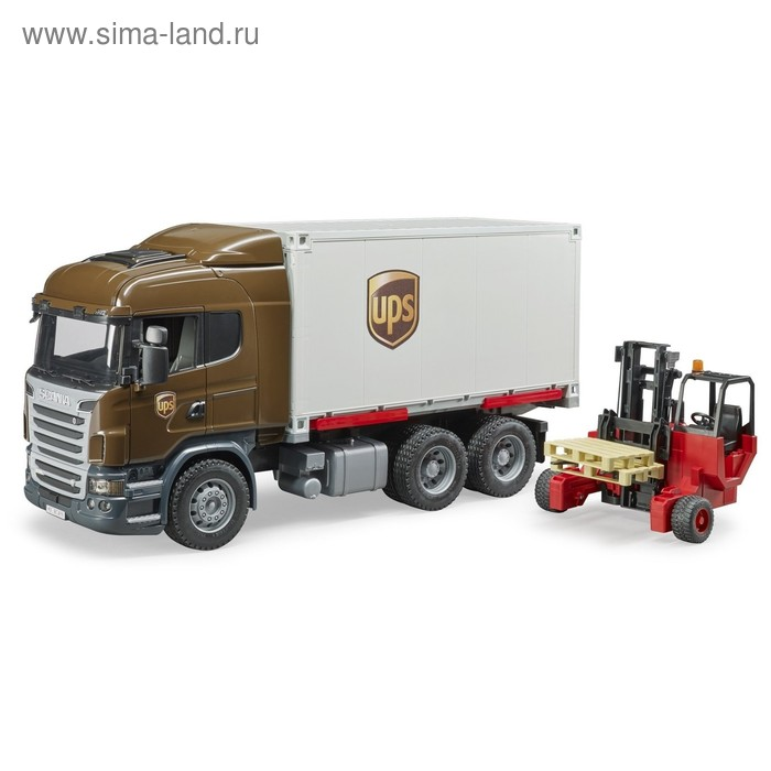 Машинка Scania «Фургон UPS», с погрузчиком и паллетами
