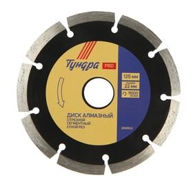 Диск алмазный отрезной TUNDRA PRO, повышенный ресурс, сегментный, сухой рез, 125 х 22 мм