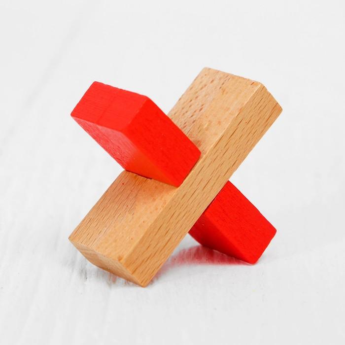 Игрушка из дерева для детей. Головоломка Крест, цветная