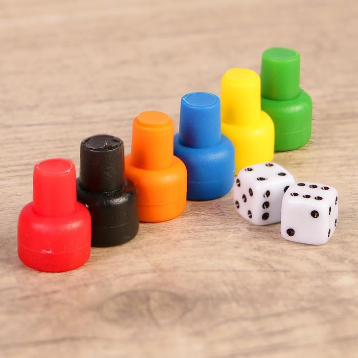 Набор для настольных игр 6 фишек, 2 кубика