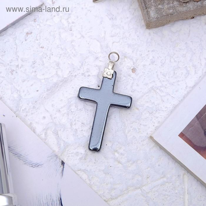 """Подвеска """"Гематит"""" крестик длинный"""