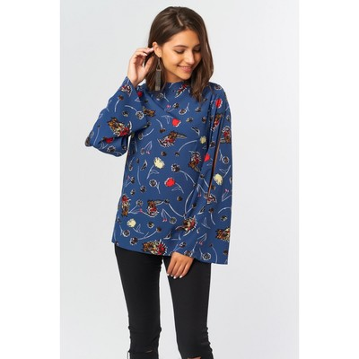 Блуза женская, размер 44, цвет синий - Фото 1