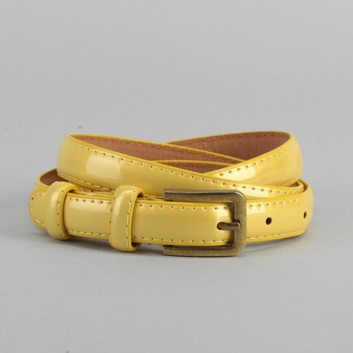 Ремень, гладкий, ширина - 1,8 см, пряжка матовое золото, цвет жёлтый