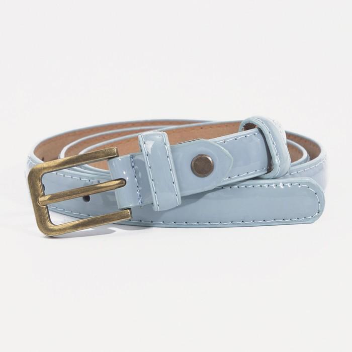 Ремень, гладкий, ширина - 1,8 см, пряжка матовое золото, цвет голубой