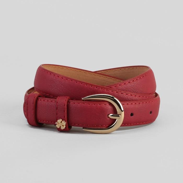 Ремень женский, гладкий, ширина - 2 см, пряжка и украшение золото, цвет красный