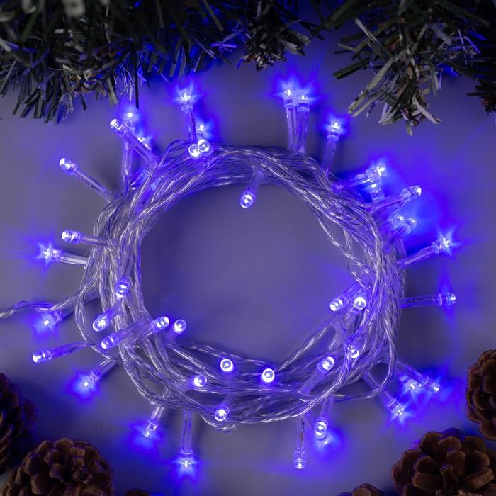 """Гирлянда """"Нить"""" 5 м , IP20, прозрачная нить, 50 LED, свечение синее, 8 режимов, 220 В"""