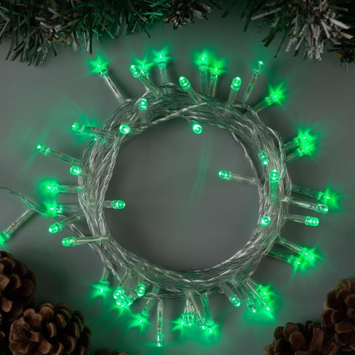 """Гирлянда """"Нить"""" 5 м , IP20, прозрачная нить, 50 LED, свечение зелёное, 8 режимов, 220 В"""