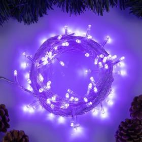 """Гирлянда """"Нить"""" 10 м , IP20, прозрачная нить, 100 LED, свечение фиолетовое, 8 режимов, 220 В"""