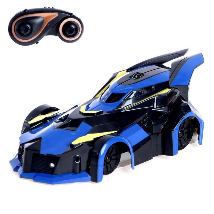 Антигравитационная машинка «СпортКар», радиоуправление, аккумулятор, ездит по стенам, свет, цвет синий
