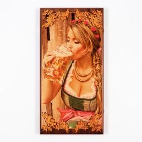 Нарды 'Я люблю пиво', деревянная доска 60х60 см, с полем для игры в шашки Ош