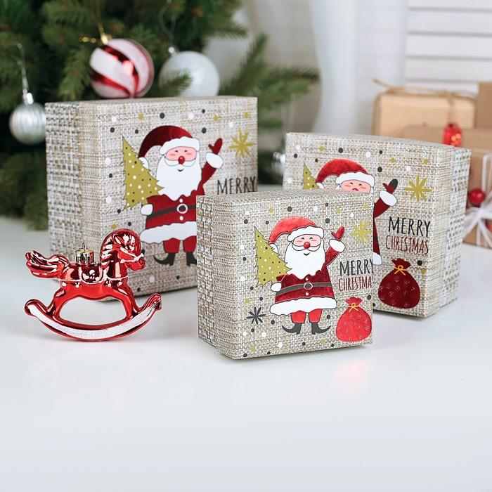 Набор коробок 3 в 1 С Рождеством, 13 х 13 х 8 - 9 х 9 х 6 см