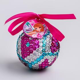 "Новогодний ёлочный шар ""Ты чудо!"" феи ВИНКС: Блум с пайетками"