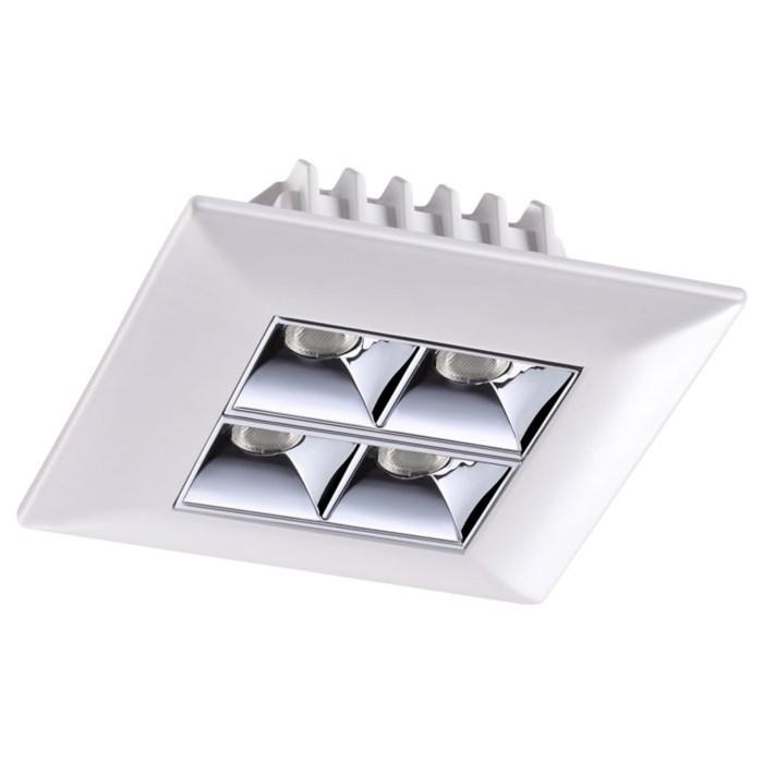 Встраиваемый светильник 10Вт LED 220V белый, хром Н35 Ø80x80мм