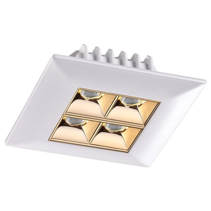 Встраиваемый светильник 10Вт LED 220V белый, золото Н35 Ø80x80мм