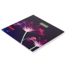 Весы напольные ENERGY EN-419G, электронные, до 180 кг, 1хCR2032, стекло, картинка 'цветы' Ош