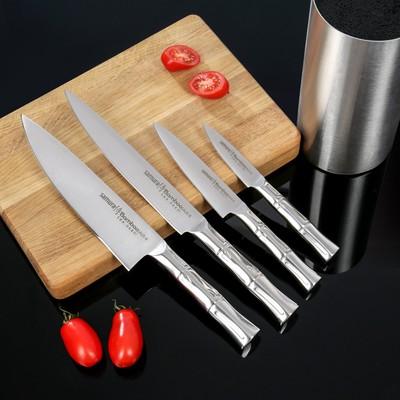 Набор кухонных ножей  Bаmbоо, 4 шт: лезвие 8,8 см, 12,5 см, 20 см, 20 см, на подставке - Фото 1