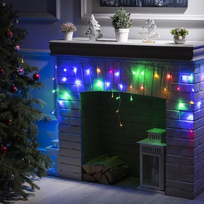 """Гирлянда """"Бахрома"""" 1.8 х 0.5 м , IP20, прозрачная нить, 48 LED, свечение мульти, 8 режимов, 220 В"""