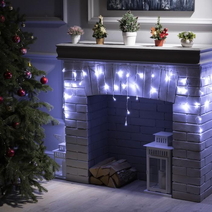 """Гирлянда """"Бахрома"""" 3 х 0.5 м , IP20, прозрачная нить, 80 LED, свечение белое, 8 режимов, 220 В"""