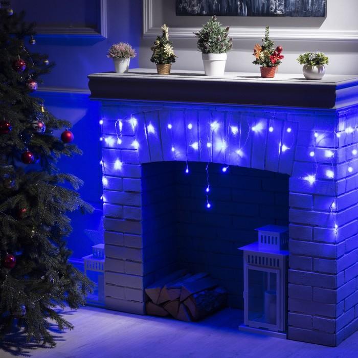 """Гирлянда """"Бахрома"""" 3 х 0.5 м , IP20, прозрачная нить, 80 LED, свечение синее, 8 режимов, 220 В"""
